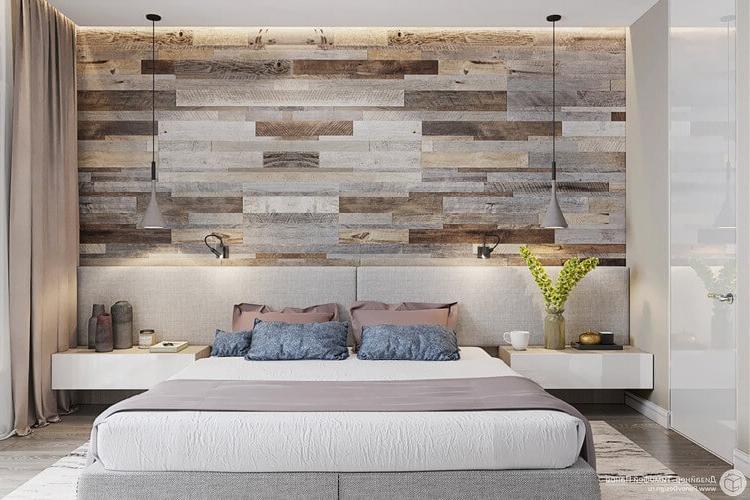 Панели на стене спальни