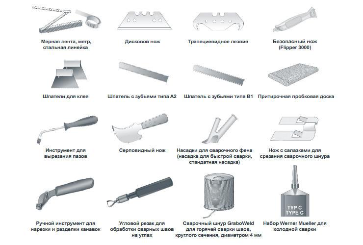 профессиональные инструменты для линолеума